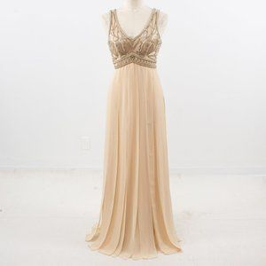 Vintage 90s 4 Art Deco Boho Goddess Gown Peach